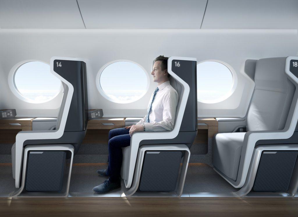 Концептуалната пътническа кабина на Boom ще е в конфигурация, наподобяваща много съвременната бизнес класа
