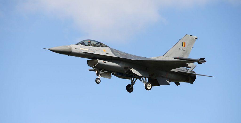 Белгийски F-16 по време на съвместно учение на НАТО в Кечкемет, Унгария