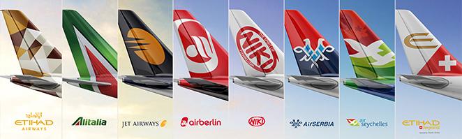Авиокомпаниите, в които Etihad има сериозно участие
