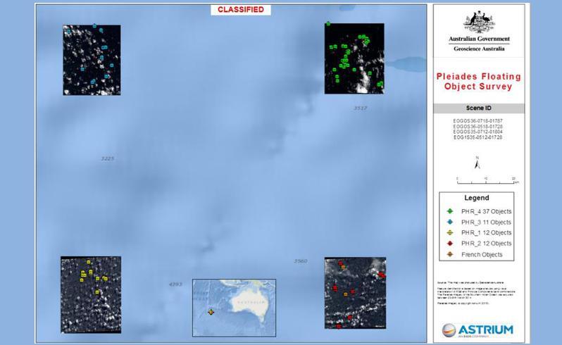 Така изглеждат някои от идентифицираните 12 обекта на повърхността на океана.
