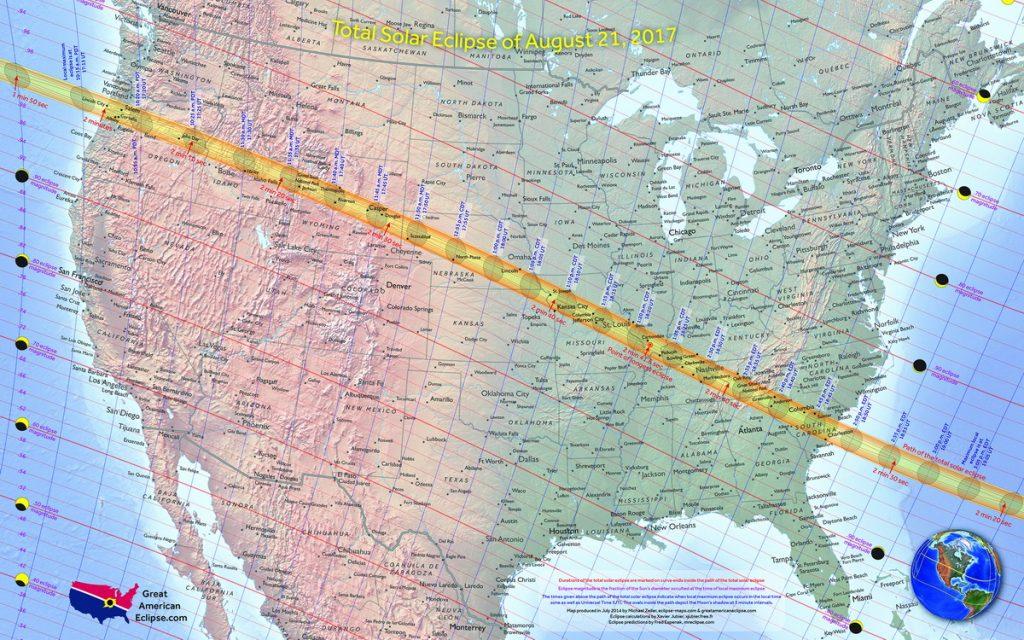 Пътят на пълното слънчево затъмнение на 21 август 2017 и интензитета в останалите райони