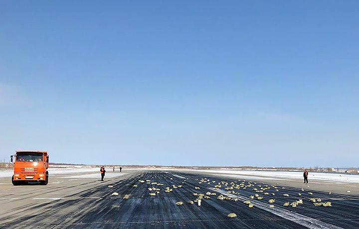 Така изглежда част от златната градушка, поразила летището в Якутск