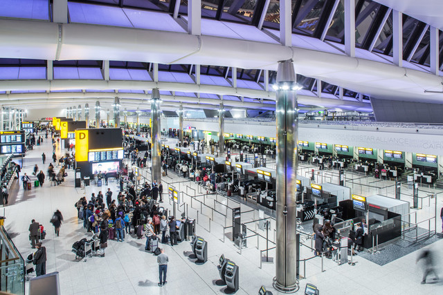 Heathrow Airport, Terminal 2A, check-in hall, November 2015.