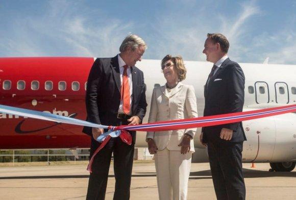 Прерязването на лентата за първия полет между Лондон-Гетуик и Буенос Айрес