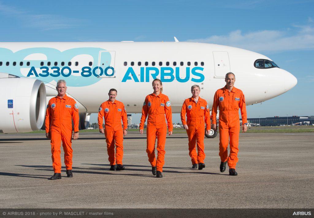 Тестовият екипаж в състав: Капитан Франсоа Баре; Втори пилот Майкъл Ридли; Борден инженер Людовик Жирар и инженерите Катрин Шнайдер и Хосе-Анхел Коругедо