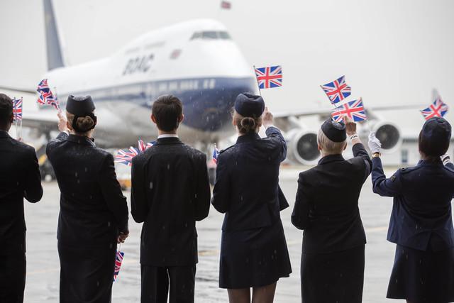 Посрещането на B747 BOAC на Хийтроу