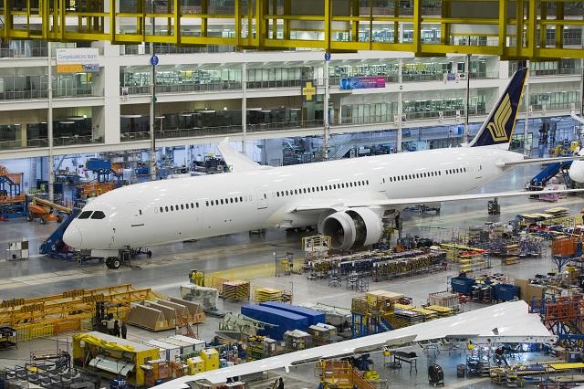 787-10 за Singapore Airlines на производствената линия в Чарлстън