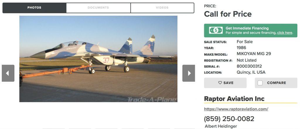 Пълно описание, технически характеристики и историята на този Миг-29 уникат е на сайта на Raptor Aviation. Така изглежда оригиналната обява.