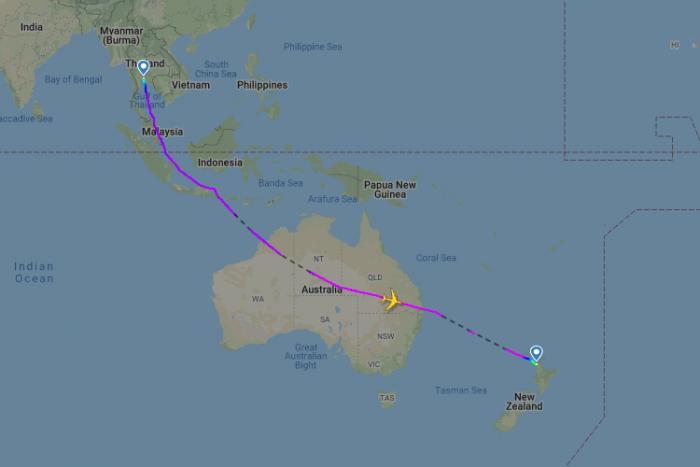 Един от маршрутите на полетите от Нова Зеландия до Франкфурт през Бангкок