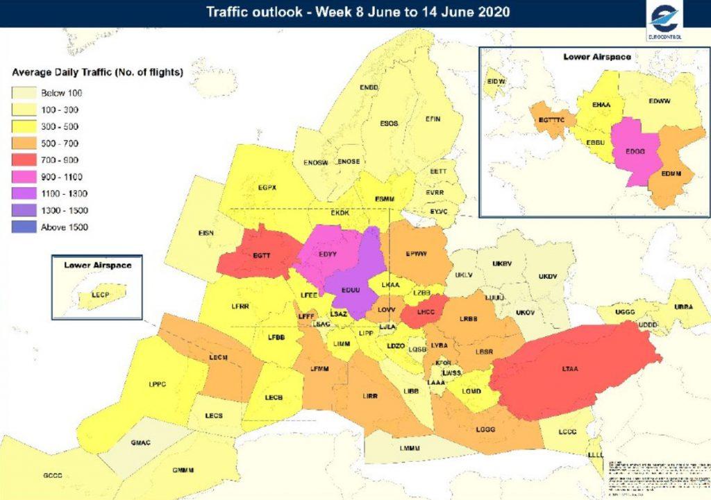 Очаквано ниво на въздушния трафик в Европа за 8-14 юни 2020. Източник: Юроконтрол
