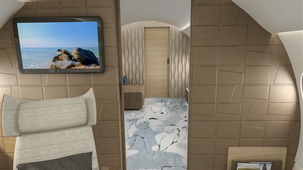 Ако сте обърнали внимание на таблетите във всяка стая, това съвсем не е случайно. Всички системи на самолета - осветление, климатизация, музика, щори и практически всичко останало се контролира през WiFi и с отделни настройки за всяка зона на самолета.  А след тежък работен ден, следващата стая е идеалното място за почивка...