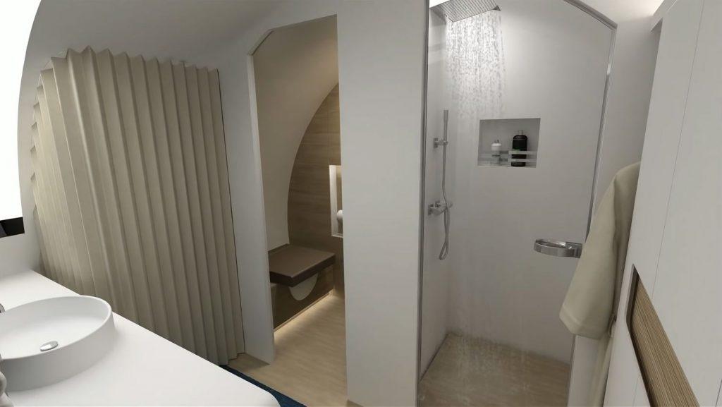 Преминаването и през последната врата на борда ни отвежда в персоналната баня, оборудвана с направо професионален душ.