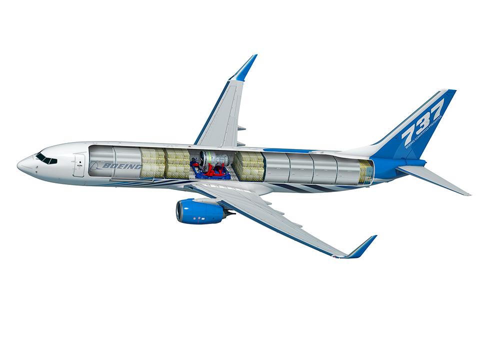 Боинг 737-800BCF може да превозва общо 11 контейнера и допълнителен насипен товар в долните си багажници.